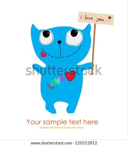 Cute Monster Card - stock vector