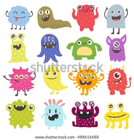 cute monster color character funny design stock vector 488616688
