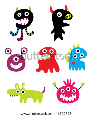 cute monster doodle collection card