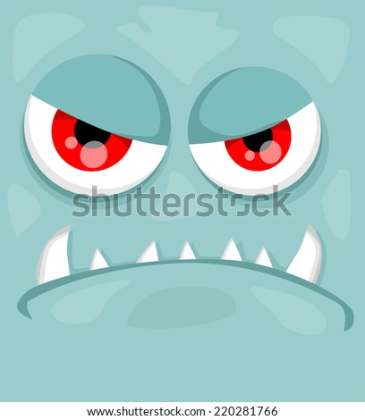 Cute monster face - stock vector