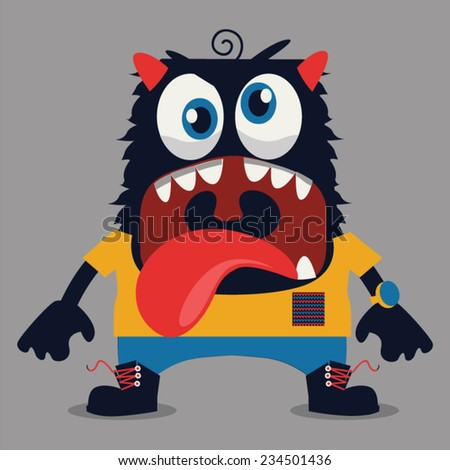 cute monster graphic - stock vector