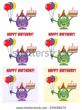Cute Monster Holding Up Colorful Balloons And Birthday Cake. Vector Collection Set - stock vector