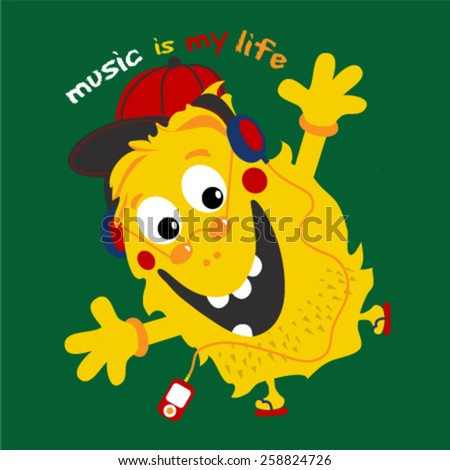 Cute monster listening to music wit a red media player. Vector illustration. - stock vector