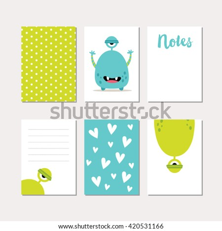 Cute monster set of cards illustrations - stock vector