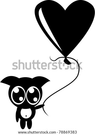 Cute monster with balloon - stock vector