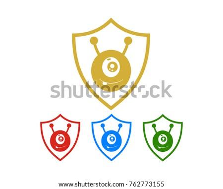 Cute Monster Line Art Shield Symbol Stock Vector 762773155