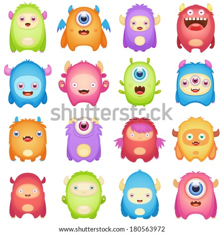 Cute Monsters - stock vector