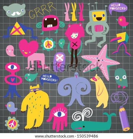 Cute monsters and freaks. Set 1. Vector illustration - stock vector