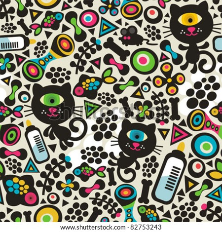 Cute monsters cats seamless pattern. Vector colorful texture for you background.