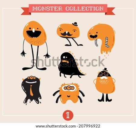 cute monsters, creatures, freaks, doodles, set of vector illustrations - stock vector