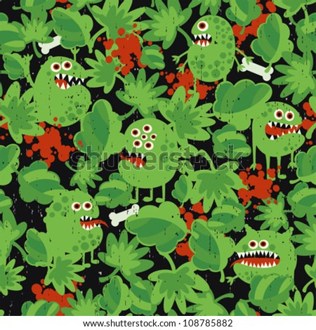 Cute monsters in the grass seamless pattern. Vector texture. - stock vector