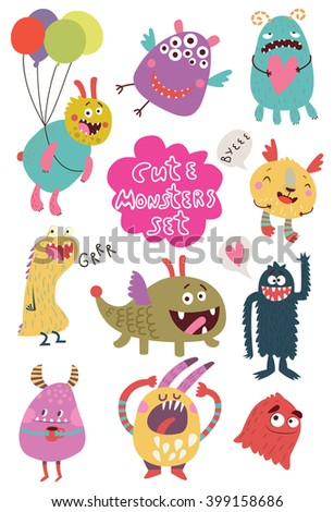 Cute monsters. Lovely monster set for children designs. Sweet smiling creatures in warm colors in vector. Awesome childish collection - stock vector