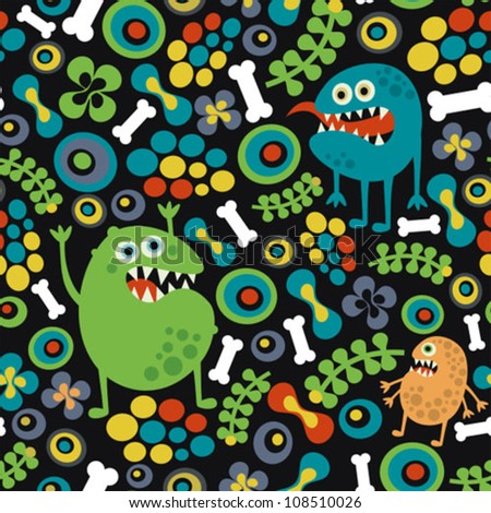 Cute monsters seamless texture with bones and flowers. Vector pattern. - stock vector