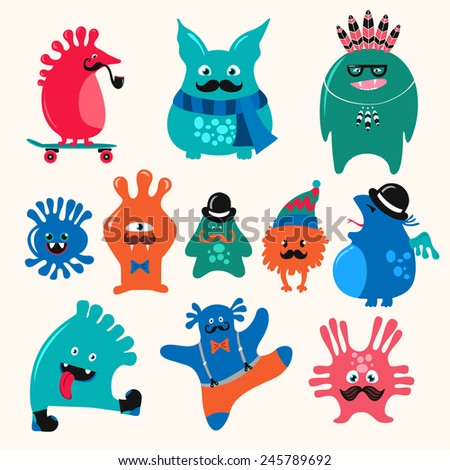 Cute monsters set. Funny fantasy creatures, colorful