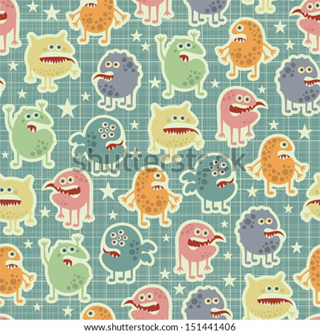 Cute  monsters  texture with stars. Vector pattern in retro stile.  - stock vector