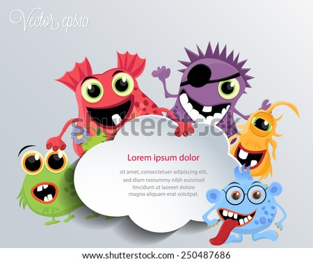 Cute monsters with a speech cloud. Vector eps10. - stock vector
