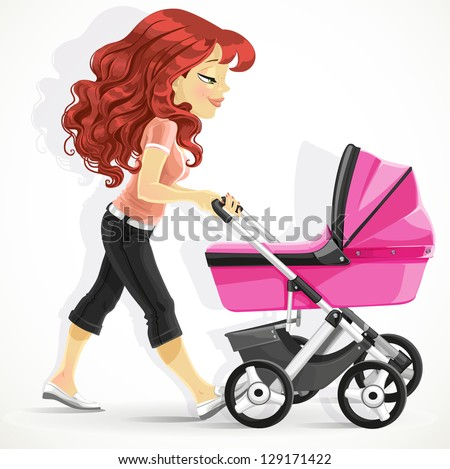Cute mother with a pink pram on walk isolated on white background - stock vector