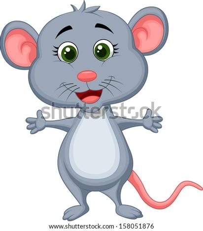 Cute mouse cartoon - stock vector