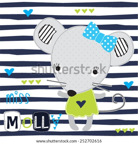 cute mouse girl with hearts on striped background vector illustration - stock vector