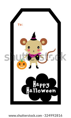 cute mouse halloween tag