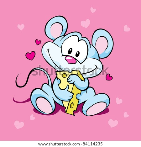 cute mouse hold cheese - stock vector