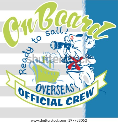 cute mouse sailor - stock vector