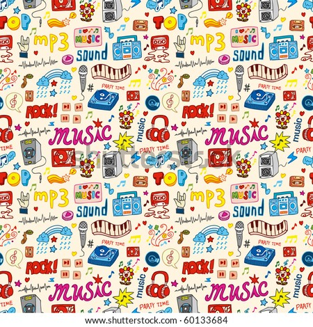 cute music icon seamless pattern - stock vector