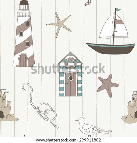 Cute nautical seamless in retro style - stock vector