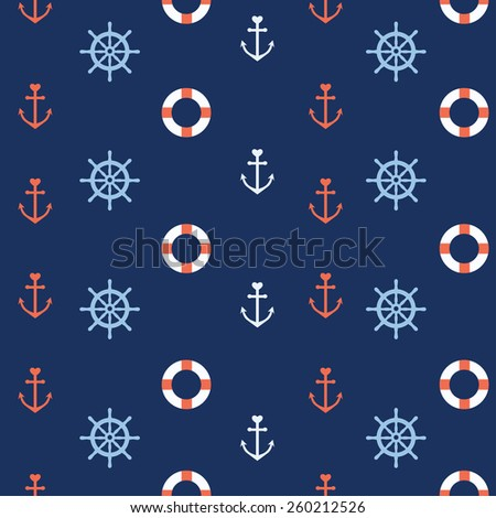 Cute nautical seamless pattern with anchors, steering wheel and lifebuoy - stock vector