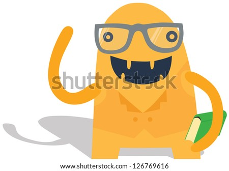 Cute Nerdy Monster with a Book - stock vector
