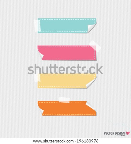 Cute note papers, ready for your message. Vector illustration.