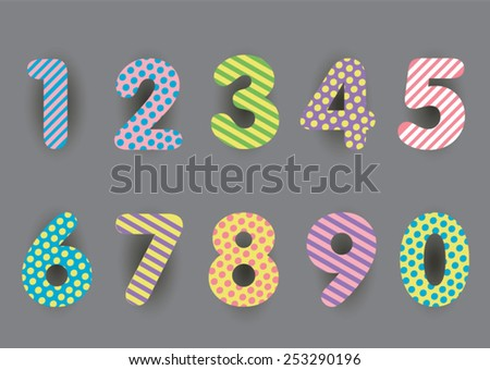 Cute number colorful  set. - stock vector