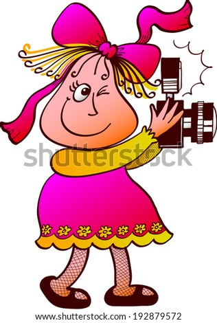 Cute old fashioned girl with pear shaped face, wearing a yellow and pink dress and a bow on top of her head while holding a camera and taking pictures - stock vector