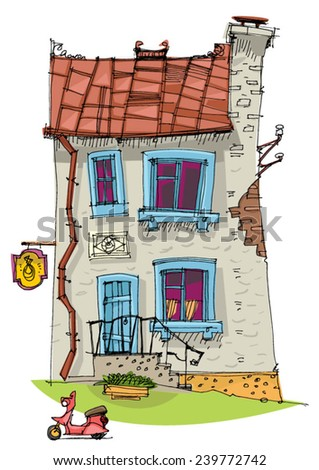 cute old mansion - cartoon - stock vector