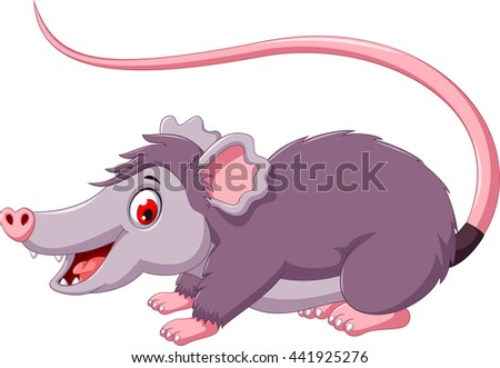 cute opossum cartoon posing - stock vector