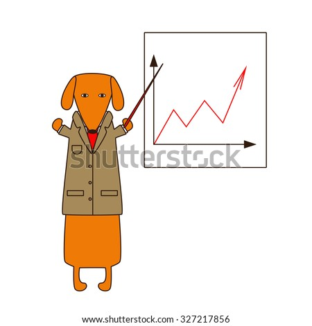 Cute orange colored brown contoured dachshund in beige jacket, white shirt and red tie standing on hind legs with dissolved forelegs, holding red pointer, white board with graphic behind him - stock vector
