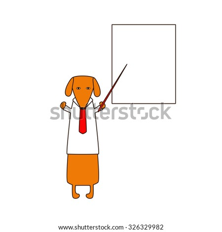 Cute orange colored brown contoured dachshund in white shirt and red tie standing on hind legs with dissolved forelegs, holding red pointer, white board behind him. Vector flat style illustration - stock vector