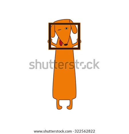 Cute orange colored brown contoured dachshund with protruding tongue, one eye closed and one opened standing on hind legs and holding empty frame in forelegs. Vector flat style illustration - stock vector