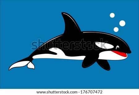 Cute Orca, cute whale, cute killer whale. - stock vector
