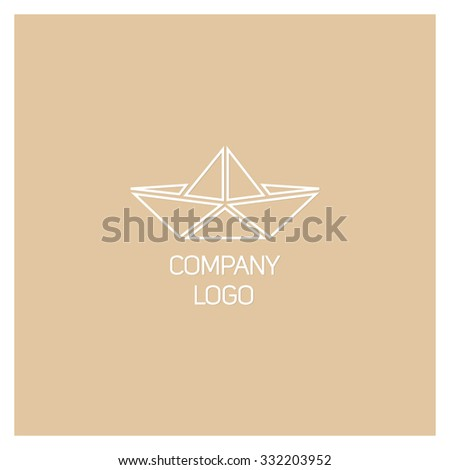 Cute Origami Logo With A Paper Boat Simple Template Graphic Design Company