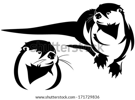 otter vector otter lutra lutra otter couple card with cartoon otter ...