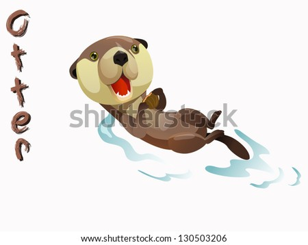 Cute+Cartoon+Otter cute otter cartoon vector standing on white ...