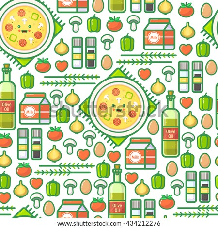 Cute outline vector seamless pattern with omelet, olive oil, eggs, milk, salt, onion, mushrooms, tomato, bell pepper and hearts. Funny simple colorful background. Summer recipe for healthy breakfast.