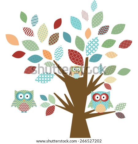 Cute Owl and Tree - stock vector