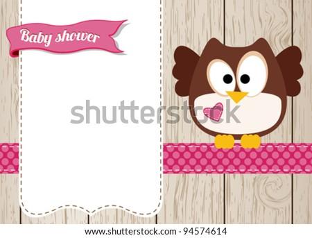 Cute owl baby girl arrival card - stock vector