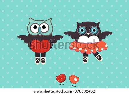 cute owl ballet  - stock vector