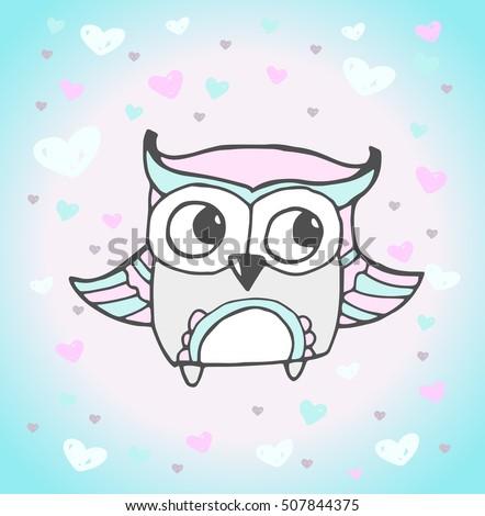 Cute owl bird heart pattern vector stock vector 507844375 cute owl bird heart pattern vector animal love bohemia concept for wedding invitation stopboris Choice Image