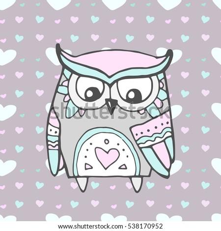 Cute owl bird heart pattern vector stock vector 512799523 cute owl bird seamless heart pattern valentine day vector love bohemia concept stopboris Choice Image