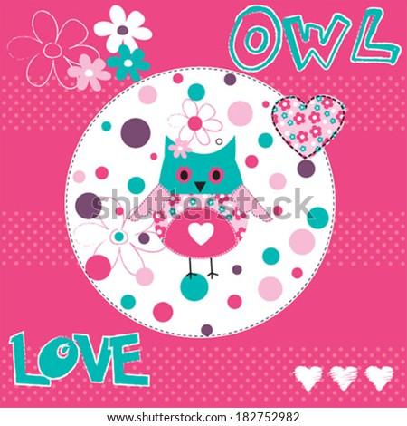 cute owl card vector illustration - stock vector