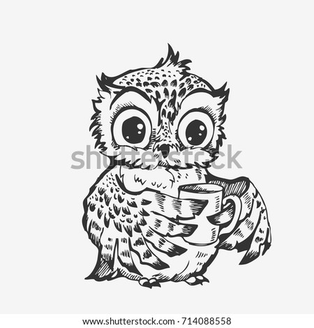 cute owl cartoon bird character line sketch hand drawn vector illustration for t shirt